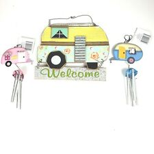 New listing Rv Lot Distressed Welcome Sign Wind Chimes Holiday Gift Yard Art Travel Trailer