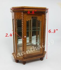 Vintage Dollhouse Miniatures Furniture Teak Wood Cabinet Display Showcase Craft
