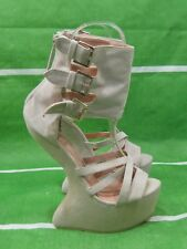"skintone 6""High Wedge Heel 2""platform Ankle Strap Open Toe Sexy Shoes Size 7"