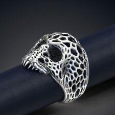 Gothic VORONEZH SKULL Men's Biker Jewelry Ring in Solid 925 Sterling Silver