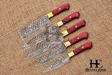 HUNTEX Custom Handmade Damascus Pakka Wd 5 Pcs Hunting Camping Kitchen Knife Set