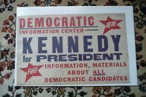 "Vintage Rare Original John Kennedy  Cardboard Poster 1960 Campaign 14 X 22 """