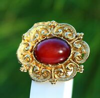 BROOCH  , red cabochon, Victorian style ,,,,