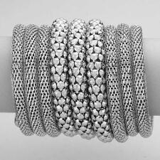 "3.75"" wide silver wrap coil snake bracelet bangle cuff"