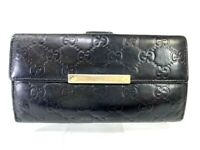 Auth GUCCI Guccisima GG pattern Leather wallet Purse Black Y1283
