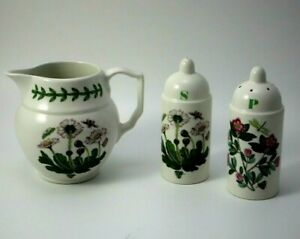 Collectable Milk Jug and Salt and Pepper Shakers PORTMEIRION made ENGLAND Floral