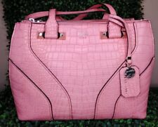 GUESS Rose Pink Satchel Hand Bag Islington Leather Logo Crocodile Zip