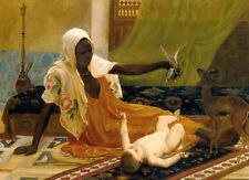 Dream-art Oil painting frederick goodall - a new light in the harem mother baby