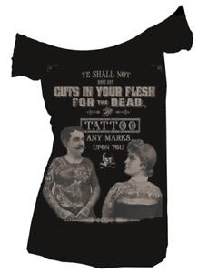 Se7en Deadly Tattoos for the Dead Gothic Punk Off Shoulder T Shirt 2041-OS