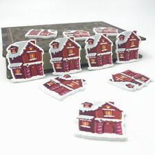DIY 40pcs Christmas houses shape Wooden Buttons Sewing decoration Christmas 34mm