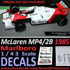 Formula 1 car collection Marlboro McLaren 1985 MP4/2B water slide DECALS 1:43