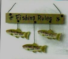 Fishing Rules Bait own hook, clean your fish, tell lies cabin decor wood sign