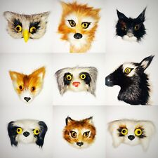 Furry Animal Friends Faces Refrigerator Magnets Real Fur Set 4
