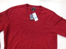 Mens V Neck Cashmere Sweater XL Deep Red NWT $195!