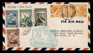 DR WHO 1941 PORTUGUESE GUINEA FIRST FLIGHT PAA TO NEW YORK NY FAM  g12417