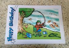 "Handmade Birthday card 3D decoupage humourous fisherman angler fishing  7"" x 5"""