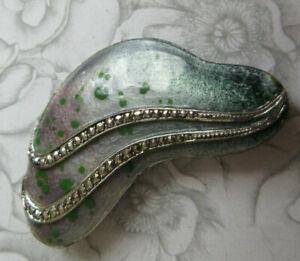 Modernist Sterling Silver, Marcasite & Enamel Brooch Lovely Tactile Sleek Design