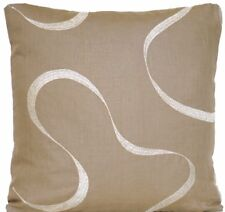 Grey Cushion Cover Decorative Pillow Throw Case Silver Embroidered Linen  16""
