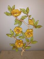"""VINTAGE HOMCO/DART IND. RESIN  FLOWER WALL HANGINGS/PLAQUES USA 20"""""""