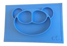 Platzset Tischset aus Silikon, Baby-Kinder-Teller mit Bär, Farbe Blau