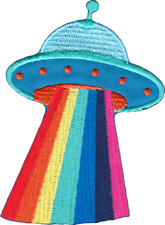 110059 UFO with Rainbow Beams Flying Saucer Aliens Outer Space Iron On Patch New