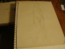 "1930 SIGNED-- E. Ganson Drawing 19 x 25"": NUDE FEMALE, sketch front w proportion"