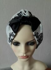 Butterfly printed black&white Summar hat turban hijab hair covered one size.,.