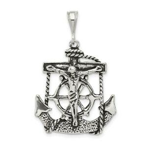 925 Sterling Silver Nautical Anchor Ship Wheel Mariners Crucifix Cross