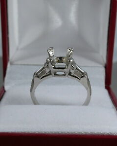 VINTAGE PLATINUM SEMI MOUNTING ENGAGEMENT RING FOR APPROX. 2.0 CT ROUND CENTER