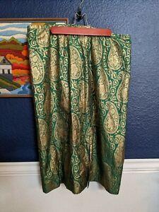 Lafayette148 Green Gold Metallic Floral Jacquard Pencil Skirt Sz 14 Large L