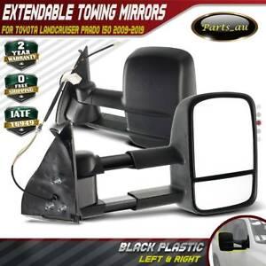 Black Extendable Towing Mirrors for Toyota Landcruiser Prado 150 Series 09-19
