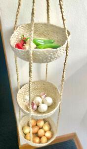 Jute hanging triple vegetable baskets for onions etc