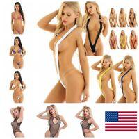 US-Women Swimwear One-piece Swimsuits Fishnet Underwear Sexy Bodysuits Bikini