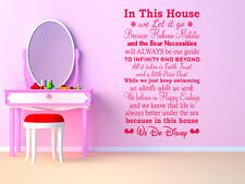"""""""In This House..We Do Disney"""" Wall Quote, Vinyl, Wall Sticker, Modern Transfer"""