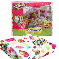 SHOPKINS 3-pieces Children's Twin Sheet Set Fitted & Flat Sheets + Pillowcase