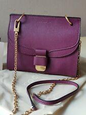 COCCINELLE Leder Tasche Saffiano-Optik Minibag Abendtasche Lila-Bordo Neu