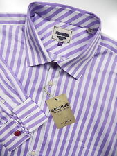 TED BAKER LONDON NWOT MENS 17.5 FRENCH CUFF DRESS SHIRT EGYPTIAN PURPLE STRIPE