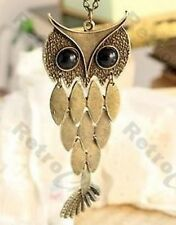 RETRO articulated BIG OWL NECKLACE pendant LONG CHAIN vintage brass BLACK EYES