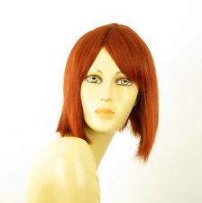 perruque femme 100% cheveux naturel mi-longue cuivré intense ref CAMILLE 130