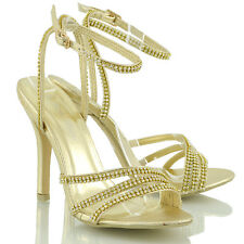 New Ladies Diamante High Heel Womens Party Prom Bridal Strappy Sandals Shoes 3-8