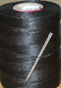 18/6 WAXED LINEN HAND SEWING THREAD FOR LEATHER/CANVAS & 2 NEEDLES - BROWN