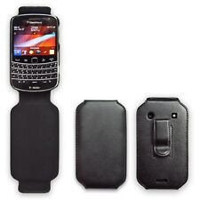 Black Leather Cover Case For Blackberry Bold 9900 9930 Belt Clip Holster Bumper