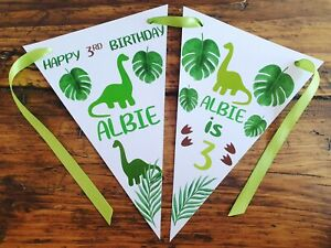 Personalised DINOSAUR PARTY BIRTHDAY Bunting Banner Decoration 1st 2nd 3rd any
