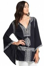 $295 CALYPSO ST BARTH Etasa Linen Embroidered Flare Sleeve Tunic Sz M Johnny Was