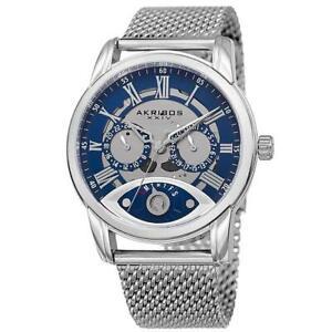 Akribos XXIV AK846SSBU Date GMT Day Retrograde Stainless Steel Mens Watch