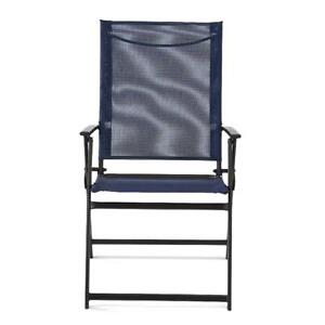 Mainstays Greyson Outdoor Patio Steel Sling Folding Chair Set Of 2 Square Blue