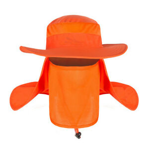 Outdoor Hiking Sun Protection Wide Brim Bucket Hat Cover Face Neck Fisherman Cap