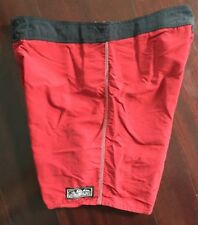 Vintage 80s Red Quiksilver Button Snap Fly 100% Nylon Surf Board Shorts Size 38