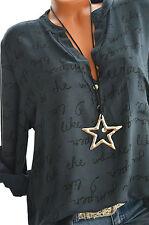 ITALY Tunika Oversize Hemd PRINT Bluse 42 44 46 Fischerhemd DUNKELGRAU Neu