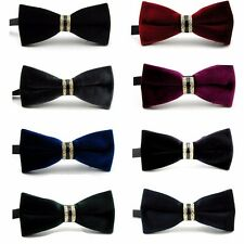 Mens Fashion Velvet Crystal Wedding Party Bowtie Bow Tie Necktie